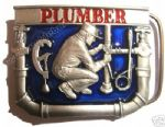 PLUMBER BELT BUCKLE + display stand